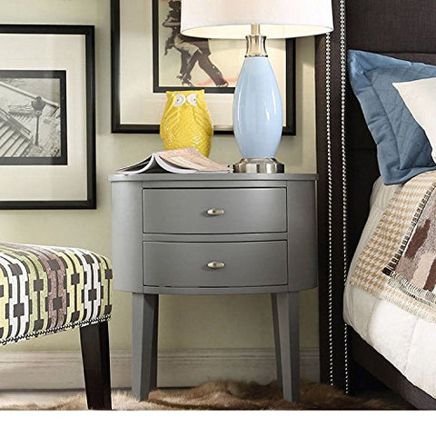 Modern Style Wood Accent Nightstand End Sofa Table Console Oval Shaped with 2-Storage Drawers