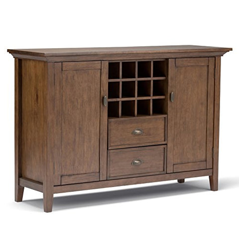 Modern Transitional Pine Wood Sideboard Buffet Wine Rack with 2 Drawers 2 Side Doors 2 Shelves and Tapered Legs