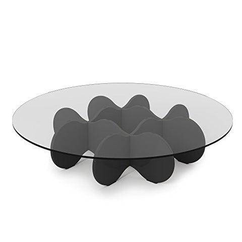Contemporary Round Glass Top Accent Coffee Table with Cloud Design Base (Black Gloss)