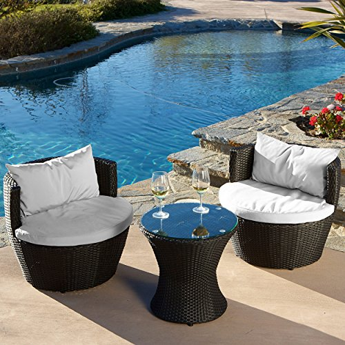 Modern Outdoor Patio 3 Piece Conversation Set in Black Resin Wicker with White Cushions