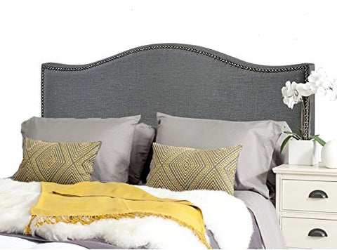 Modern Arch Gray Upholstered Padded Queen Headboard with Pewter Metal Nailheads