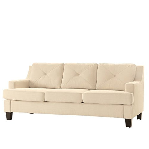 Modern Linen Button Tufted Sloped Arm Sofa with Track Living Room Decor | Espresso Wooden Feet and Foam Seat Cushions