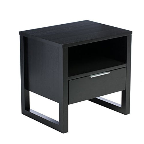 Modern Wood Accent End Table Night Stand with 1 Drawer and Spacious Shelf in Black Finish