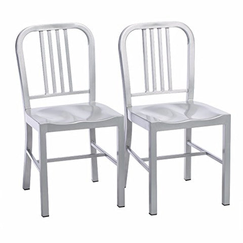 Set of 2 Silver Modern Industrial Metal Dining Chairs with Back in Glossy Powder Coated Finish Steel