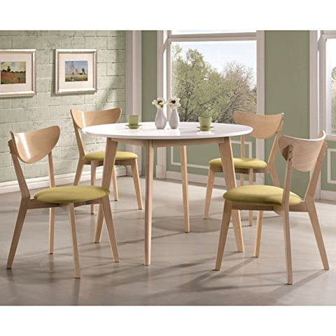 Mid Century Modern Retro Style Wooden Accent 5 Piece Dining Set | 4 Curved  Back