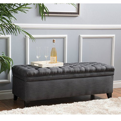 Modern Transitional Button Tufted Fabric Upholstery Storage Ottoman with Espresso Wood Legs
