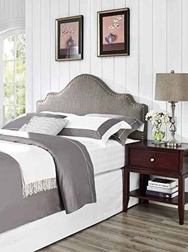 Modern Arch Upholstered Padded Gray Linen Fabric Queen Headboard with Nailheads