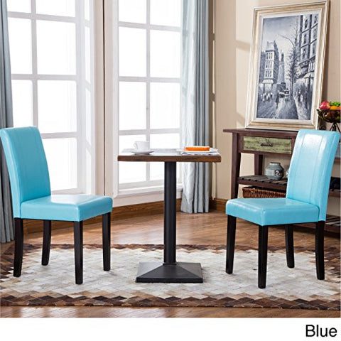 Set of 2 Modern Upholstered Blue Faux Leather Parson Dining Chair with Solid Wood Legs in Espresso Finish