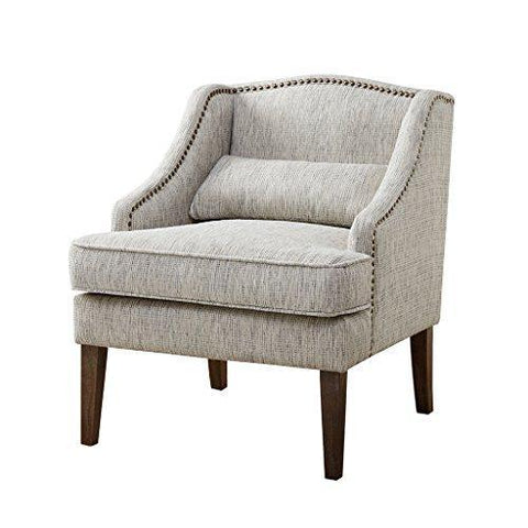 Contemporary Gray Upholstered Side Accent Chair with Subtle Camel Back and Nailhead Trim