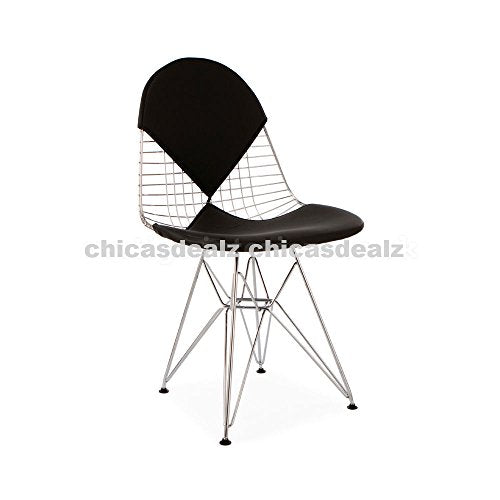 Mid Century Modern Eames Style DKR Chrome Wire Side Dining Chair with Black Bikini Seat & Back Cover