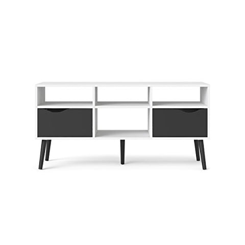 Mid Century Modern Wood TV Stand with 4 Shelves 2 Drawer and Solid Oak Legs (Black/White)