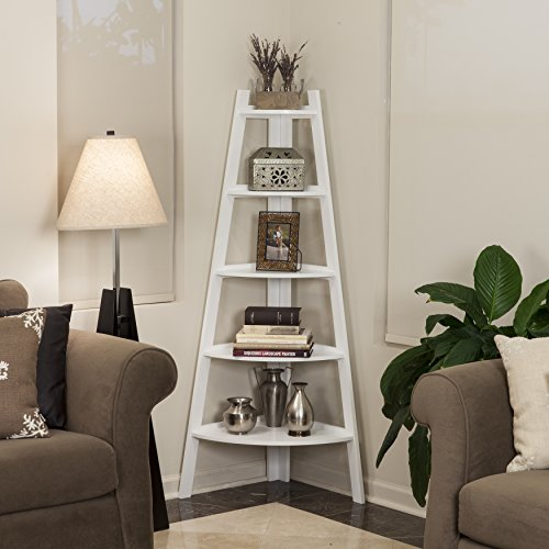 Contemporary Solid Wood 5 Tier Ladder Display Bookshelf in White Finish