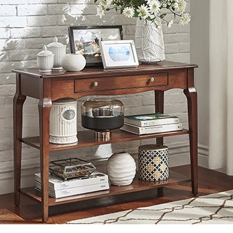 Modern Wood TV Stand Accent Console Sofa Table with 1 Drawer and 2 Open Shelves (Brown)