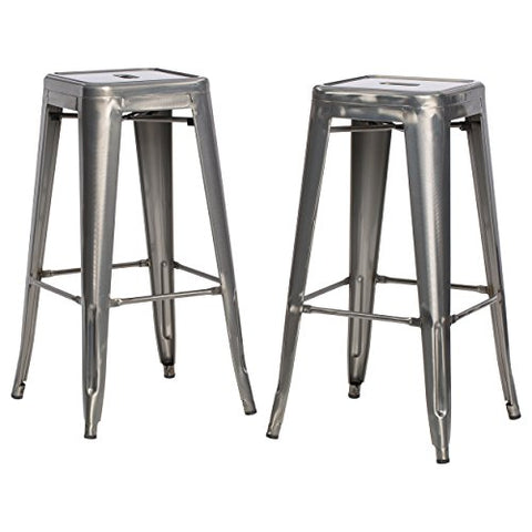 Tremendous Set Of 2 Gunmetal French Bistro Tolix Style Metal Bar Stools In Glossy Powder Coated Finish Forskolin Free Trial Chair Design Images Forskolin Free Trialorg