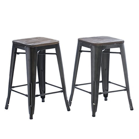 Set of 2 Bronze Tolix Style Metal Counter Stools with Wood Seat in Glossy Powder Coated Finish