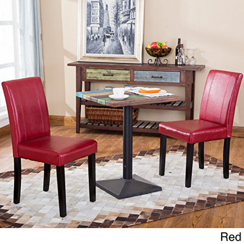 Set Of 2 Modern Upholstered Red Faux Leather Parson Dining Chair