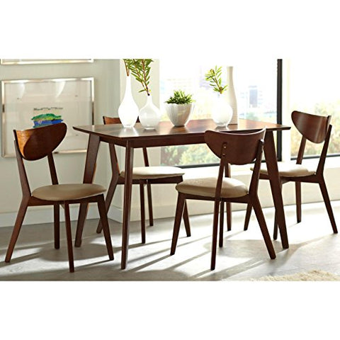 Mid-Century Modern Retro Style Wood Accent 5-Piece Dining Set, 4 Curved Back Armless Chairs, Round Shaped Table, Beige Faux Leather Seats, Walnut Finish
