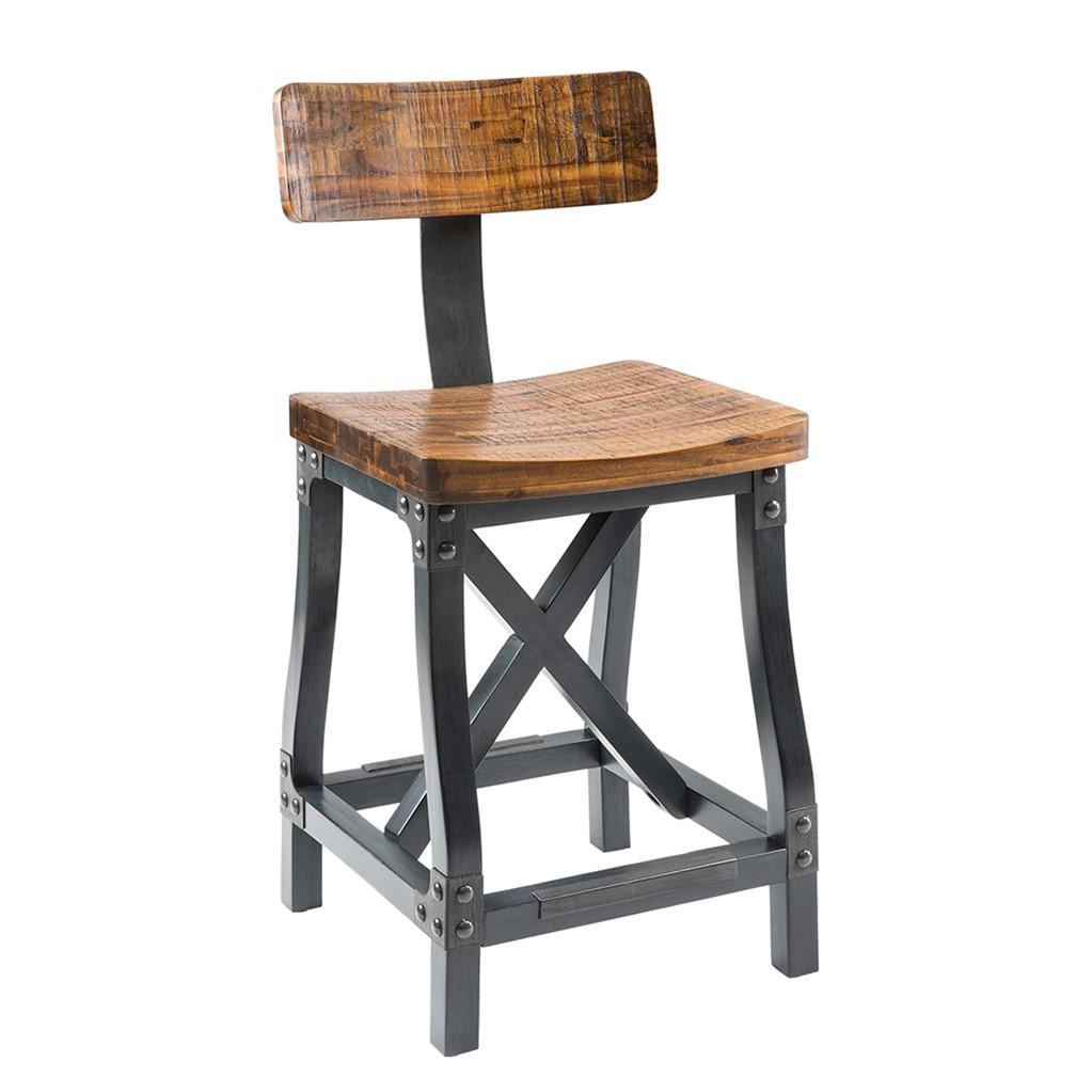 Industrial rustic acacia wood and metal dining chairs with back set modhaus living