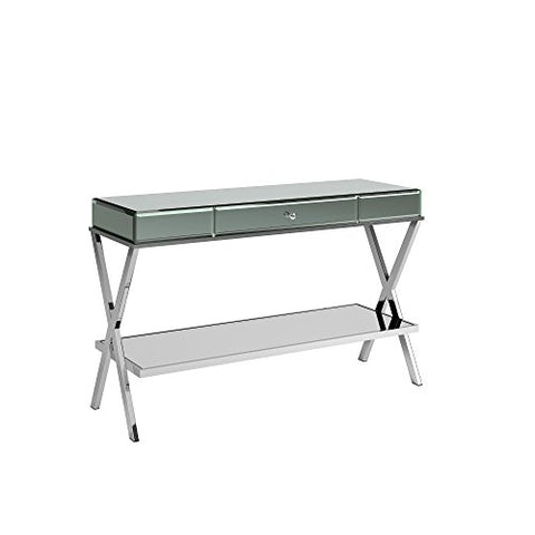 Modern Metal X Base Mirrored TV Stand with Drawer (Silver)