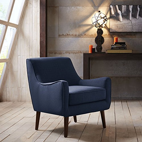 Mid Century Navy Blue Linen Upholstered Accent Arm Chair with Cushion and Solid Wood Legs