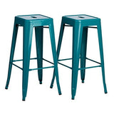Set of 2 Turquoise French Bistro Tolix Style Metal Bar Stools in Glossy Powder Coated Finish