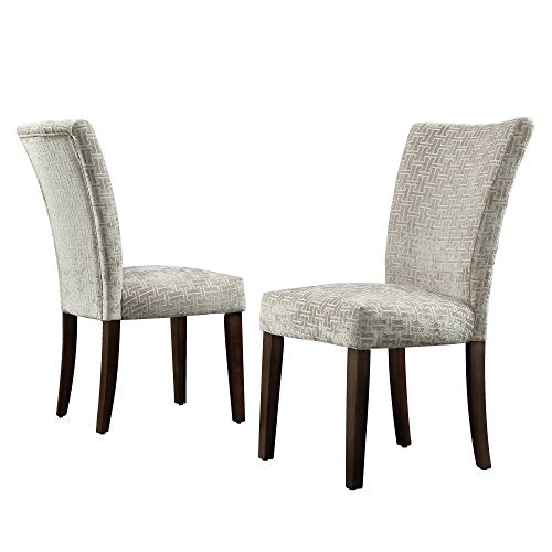 Modern Gray Link Pattern Fabric Parsons Style Dining Side Chairs | Wooden Brown Tapered Legs - Set of 2