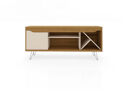 Modern TV Stand with Wine Rack and  Splayed Metal Legs in Cinnamon and Off White