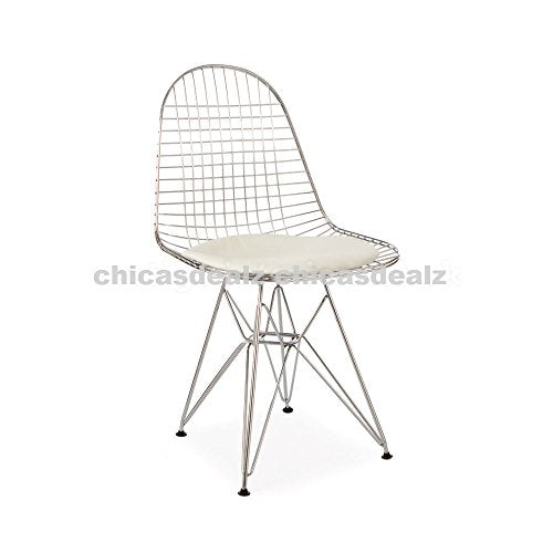 Mid Century Modern Eames Style DKR Chrome Wire Side Dining Chair with White Seat Pad