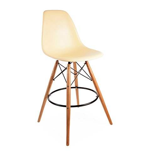 ModHaus Mid Century Modern Eames DSW Style Beige Counter Stool with Dowel Wood Base Nice HIGH QUALITY Satin Finish