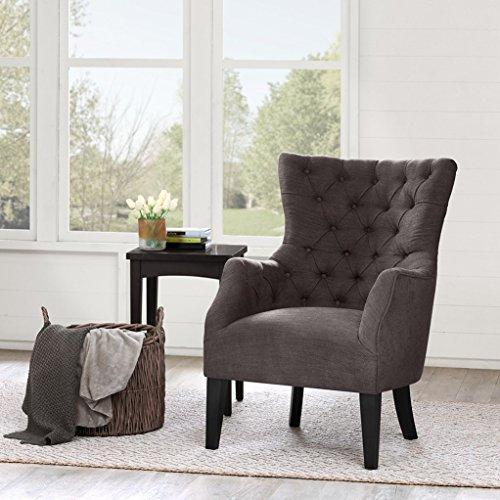 Contemporary Brown Upholstered Deep Button Tufted Accent Armchair with Dark Wood Legs