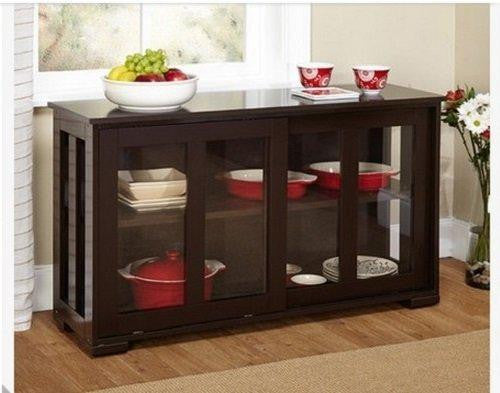 Simple Living Engineered Wood / Tempered Glass Stackable Cabinet, Espresso
