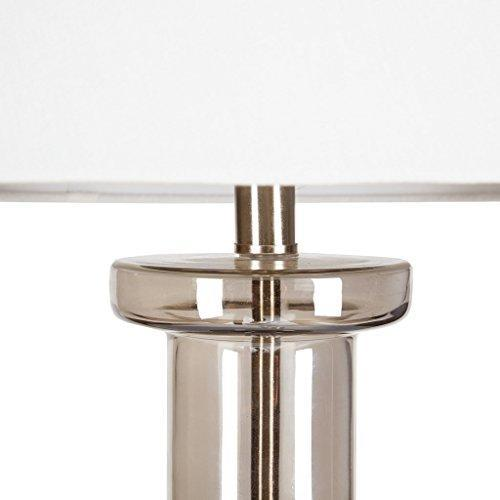 Modern Curved Glass Table Lamp with Silver Accent and White Empire Shade