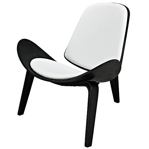 Mid Century Modern Danish Hans Wegner Style Molded Black Plywood & White Faux Leather Shell Chair