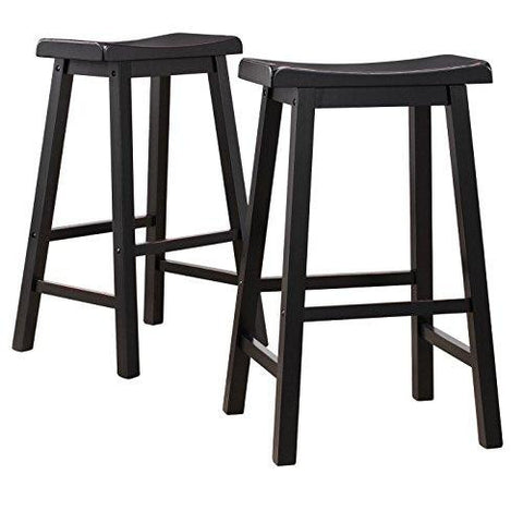 Set of 2 Black Sandthrough Country Style Saddle Back Solid Wood Bar Stool Bar Height