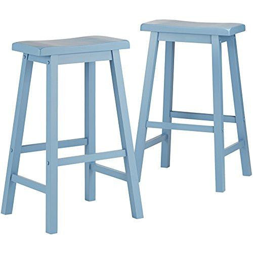 Set of 2 Country Style Saddle Back Solid Wood Bar Stool - Bar Height