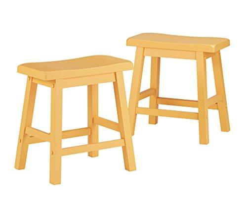 Set of 2 Country Style Saddle Back Solid Wood Stool - Chair Height - Includes ModHaus Living (TM) Pen