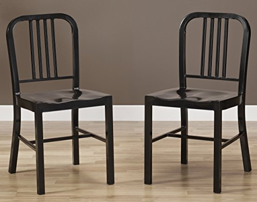 Set of 2 Black Metal Chairs with Back in Glossy Powder Coated Finish Steel Dining Indoor