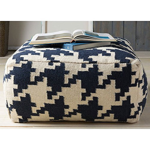 Contemporary Hand Crafted 24 Inch Square Pouf Ottoman  (Blue)