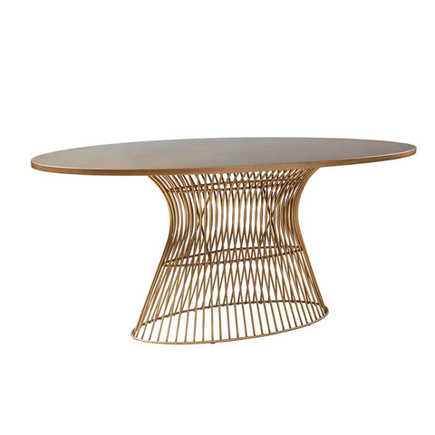 Mid Century Modern 70 inch Oval Dining Table with Metal Wire Base in Gold Finish