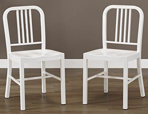 Set of 2 White Metal Chairs with Back in Glossy Powder Coated Finish Steel Dining Indoor