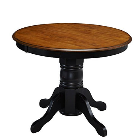 Contemporary Style 42-inch French Countryside Oak and Black Wood Round Top Pedestal Base Dining Table