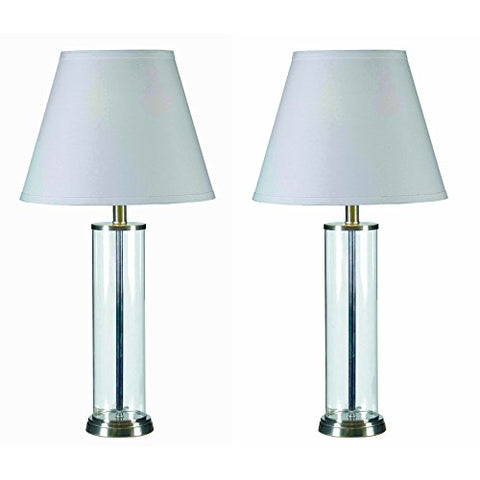 Modern Cylinder Clear Glass Set of 2 Fillable Table Lamps in Brushed Steel Finish