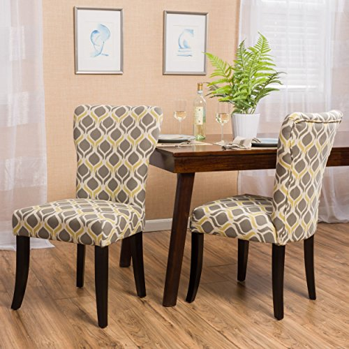 Contemporary Geometric Print Fabric Upholstery Set of 2 Accent Dining Chair with Wood Legs (Gray/Yellow Espresso Finish)