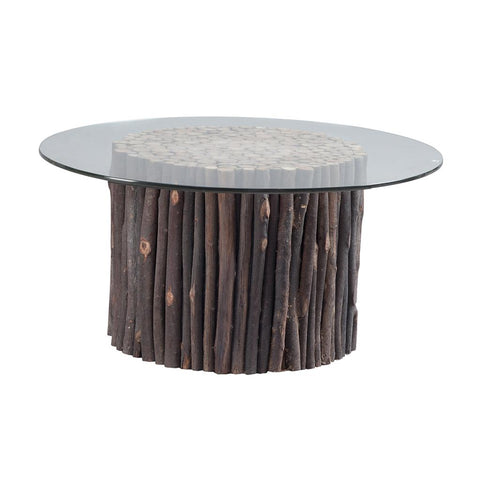 Rustic 42 inch Round Wood Branches Tempered Glass Top Accent Coffee Cocktail Table