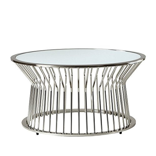 Mid Century Modern Platner Style Chrome Metal Coffee Table with Glass Top