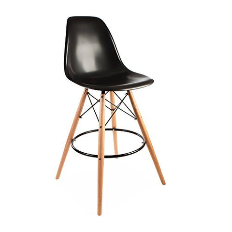 Mid Century Modern Eames DSW Style Black Counter Stool with Dowel Wood Base HIGH QUALITY Satin Finish