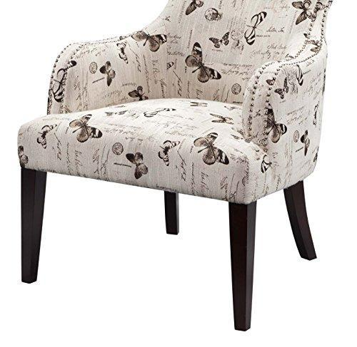 Contemporary Rollback Beige Butterfly Print Upholstered Accent Chair with Nailhead Trim