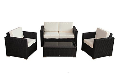 Modern Outdoor Patio 4 Piece Set in Black Resin Wicker with Thick Cream Cushions - Loveseat, Chairs and Coffee Table