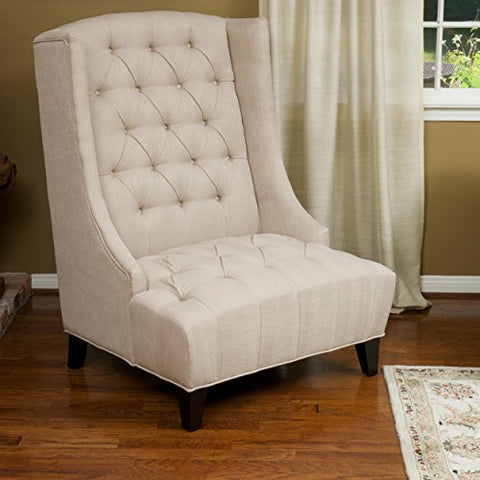 Modern Upholstered Tufted Wingback Accent Chair with Dark Wood Legs