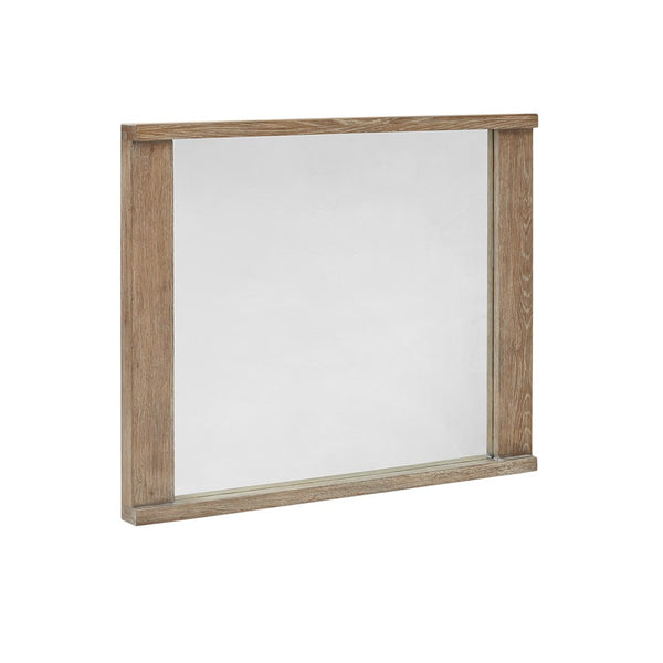 Modern Rustic White Wash Oak Wood Frame Wall Hanging Mirror